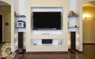 Как сделать нишу из гипсокартона под телевизор: поэтапная инструкция с фото